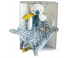 Doudou Hochet Blanc/bleu Yoca Le Koala Doudou et Compagnie