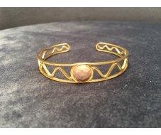 Bracelet jonc pierre beige rosé
